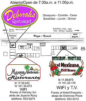 Map showing location of El Mexicano Chili Beans Restaurant in Ixtapa